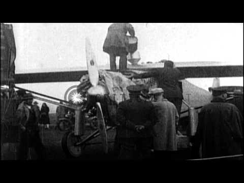 Charles Lindbergh takes off in Spirit of Louis for the first solo non-stop transa...HD Stock Footage