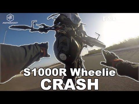 BMW S1000R WHEELIE CRASH!