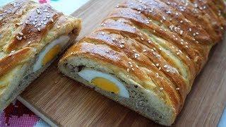 Пирог бездрожжевой с фаршем и яйцом от Анны/тесто на пироги на кефире без дрожжей/Pie with meat