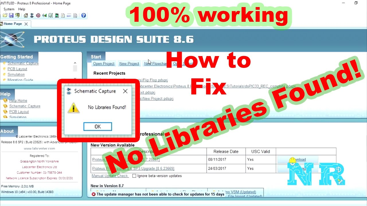 How to fix No Libraries Found No Components in Proteus 8 Professional  [Khmer Subtitle]