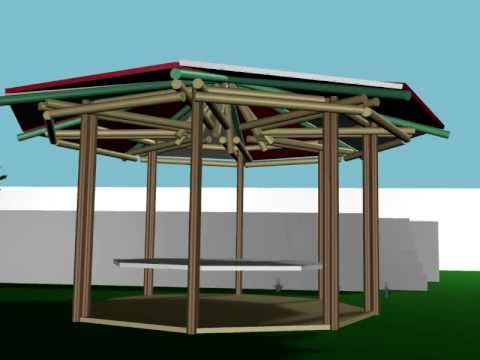 Extructura kiosco guadua youtube for Kiosco de madera para jardin