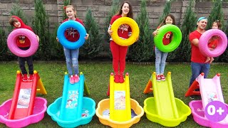 Five kids family sing Five little monkeys song with wheels | Kids song & Nursery rhymes | Chiki-Piki
