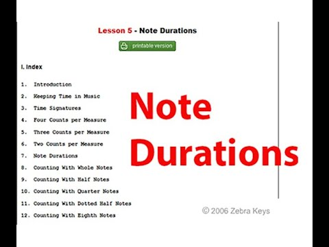 Free Piano Lesson 5 - Note Durations | Music Notations
