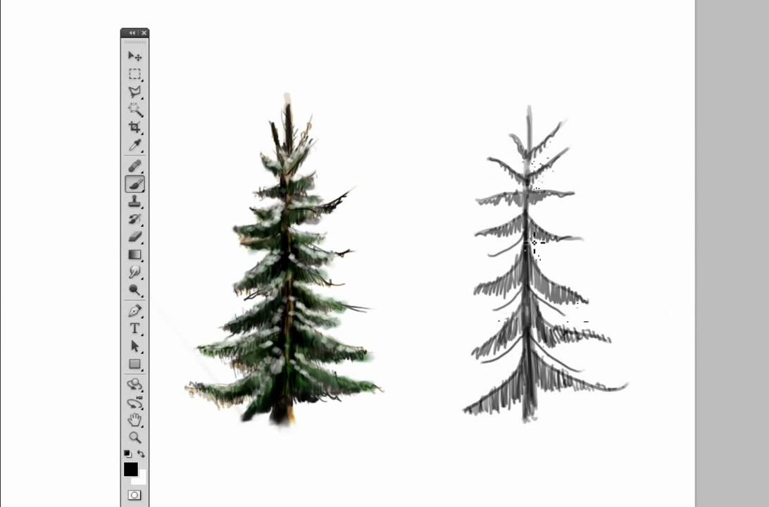 draw a pine tree in photoshop youtube