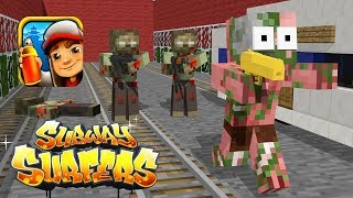 Monster School: Zombie Apocalypse Subway Surfers Challenge - Minecraft Animation