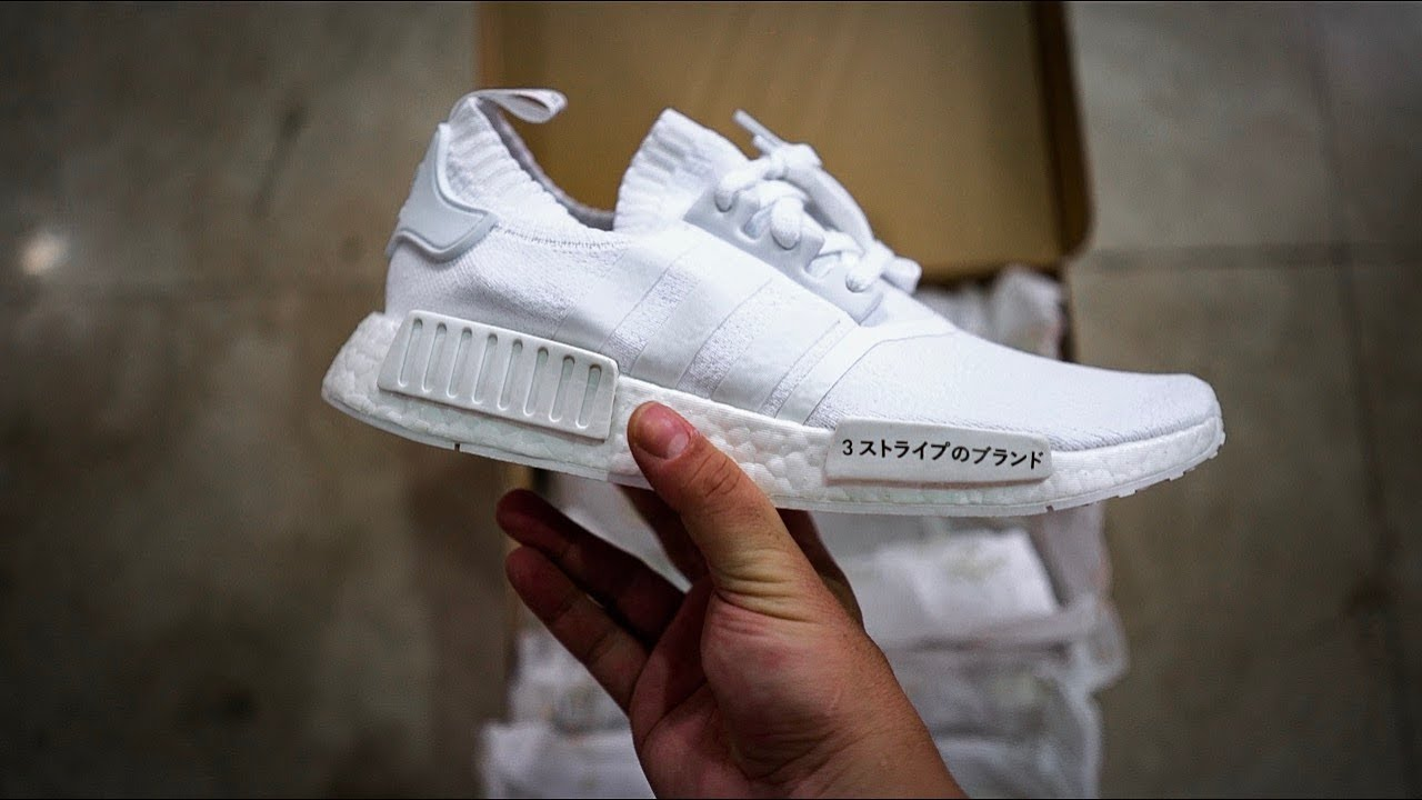 new style 7bcb3 4392c Adidas NMD R1 PK (Primeknit) Triple White Japan pack UNBOXING