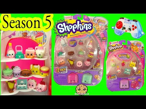 Season 5 Shopkins 5 & 12 Pack With Glow In The Dark Surprise Blind Bags - Video Cookieswirlc