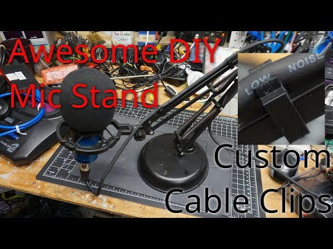 DIY Mic Stand From A Weighted Base Lamp With Cable Clips For Cable Routing