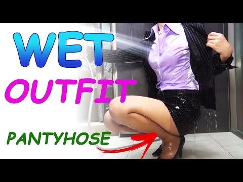 wet pantyhose video splash water into girl for wet outfit