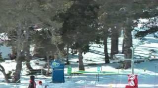 Skiing near Chrisjonbec at Font Romeu, in Pyrenees Orientales, France