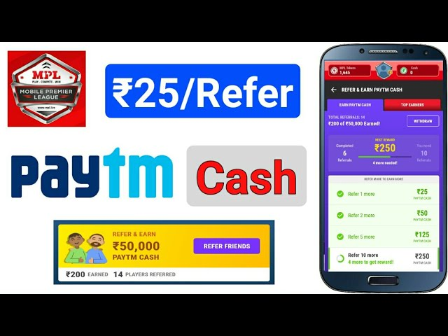 MPL App ₹25/Refer Paytm Cash Proof Added || MPL App Earn Paytm Cash Without Playing Any Game