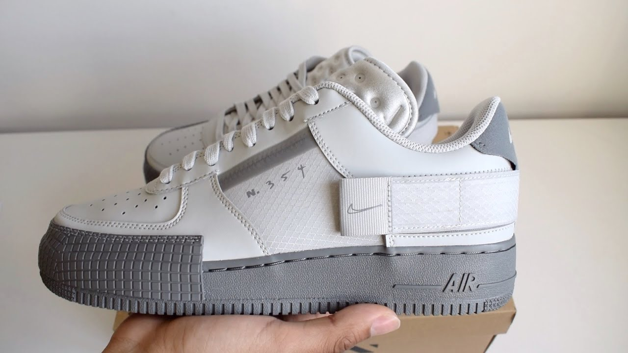 costo Sentimental Interacción  Nike Air force 1 Type Slate Grey Unboxing - YouTube
