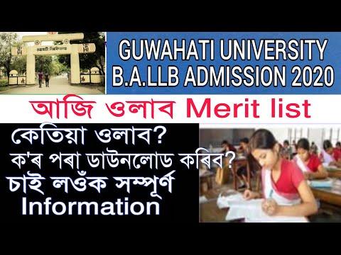 Gauhati University BALLB Merit List 2020||