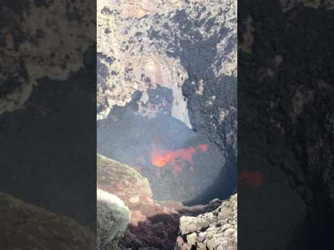 Lava exploding out of Villarrica volcano crater
