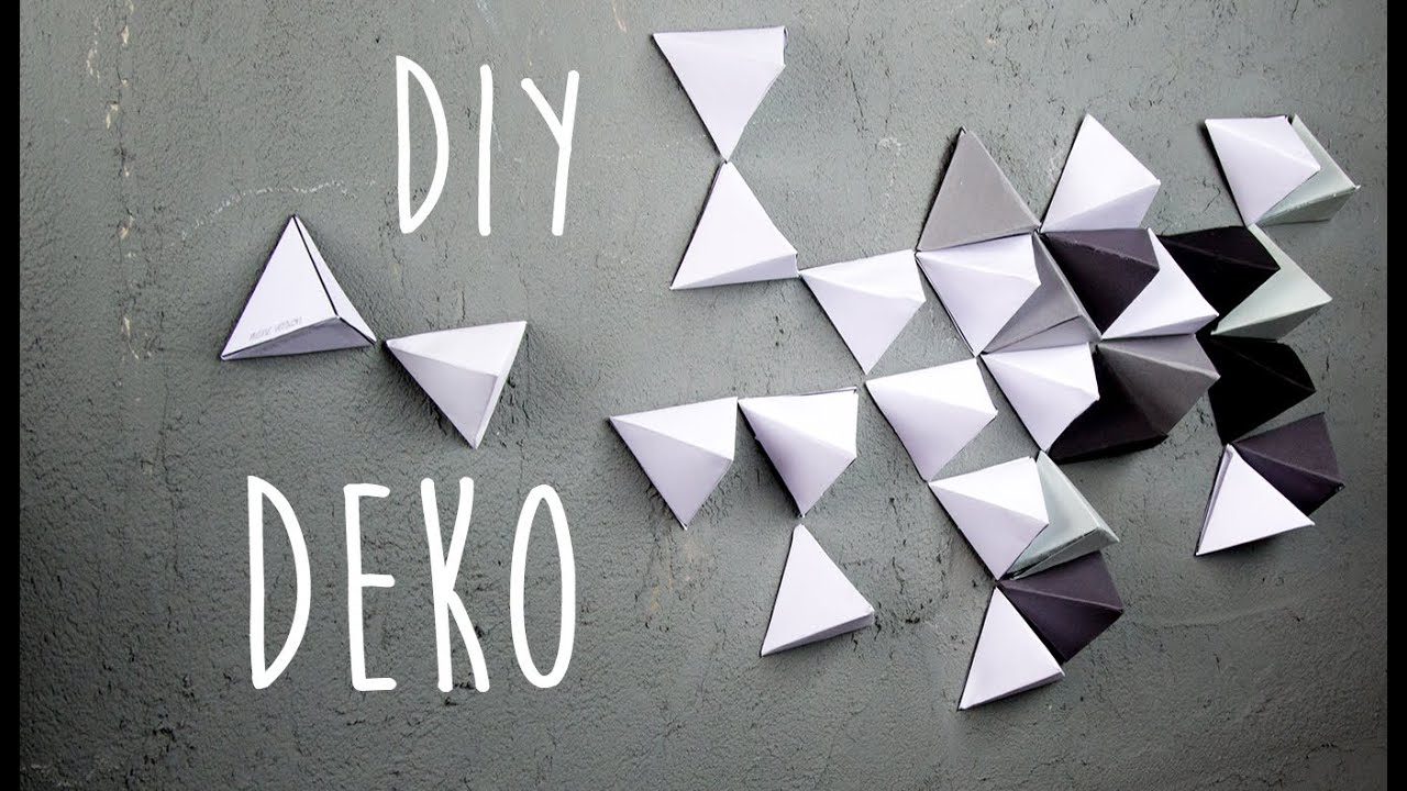 geometrische wand dekoration aus papier diy youtube. Black Bedroom Furniture Sets. Home Design Ideas