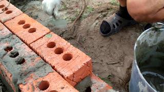 Строительство бани 2.5 на 4.5 из бруса / Кладём цоколь(Компания
