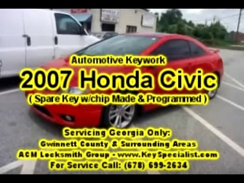 Locksmith in Duluth: 2007 Honda Civic - Spare Remote Key Programmed!