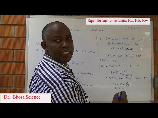 Ionization of weak acid, bases and water and equilibrium constants Ka, Kb and Kw