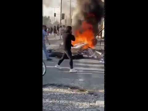 Сожжение телевизора в Барселоне