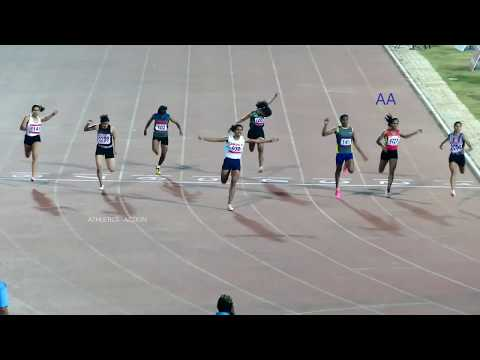 100m Run Final (Girls U20)  34th National Junior Athletics Championships 2018. RANCHI