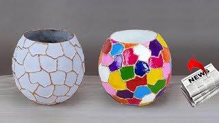 Newspaper multi color Flower vase // Easy flower vase making