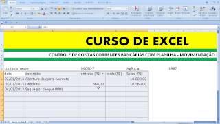 Curso de EXCEL Controle de conta corrente bancária com planilha Movimentação bancária com saldo