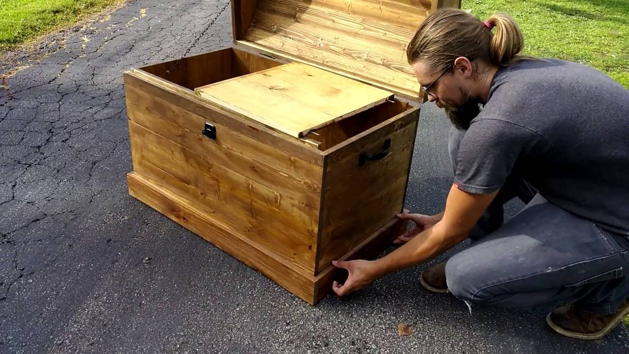 Large Pine Box With Secret Compartment