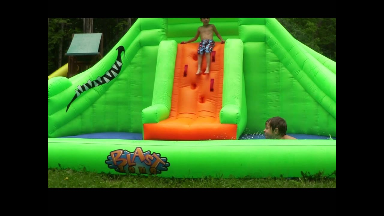 blast zone crocodile isle inflatable water park with 2 slides