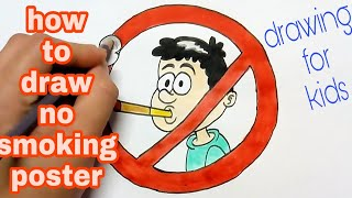 how to draw & coloring no smoking poster || no smoking coloring drawing