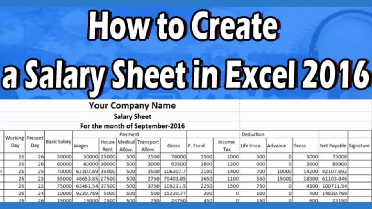 How to make a salary sheet using microsoft excel 2016 youtube how to make a salary sheet using microsoft excel 2016 altavistaventures Gallery
