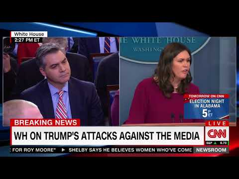 Sanders gets into testy exchange with Acosta over erroneous media reports