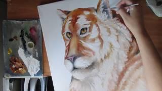 Тигр мастихином и кистью.Живопись маслом.