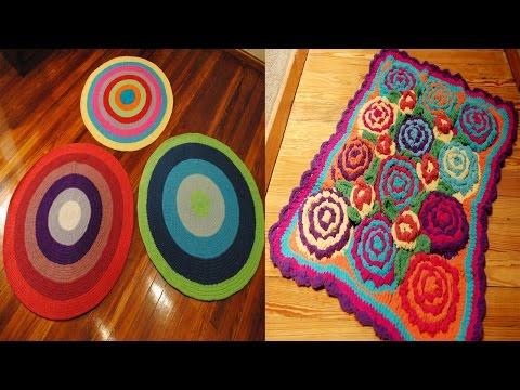 Alfombras cuadradas y rectangulares a crochet funnycat tv for Alfombras cuadradas