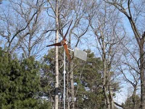 Homemade residential Wind Turbine Generator 10.5' Homebuilt Homebrew carved Cedar Epoxy blades