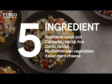 5-ingredient chargrilled veg vegan risotto | Tesco Food