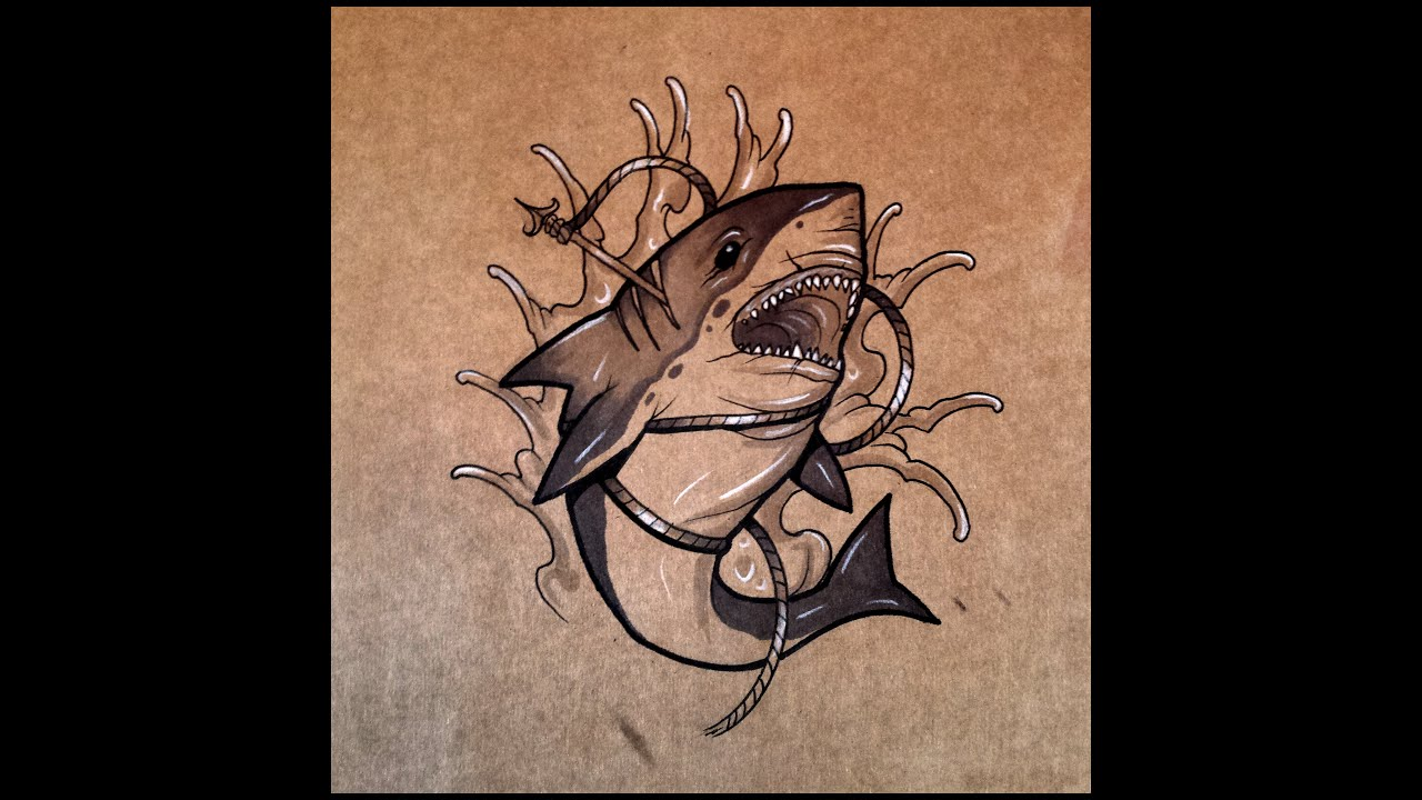 How To Draw A Shark Tattoo Style By Thebrokenpuppet Youtube