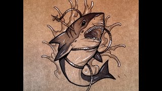 How to draw a Shark Tattoo Style By thebrokenpuppet