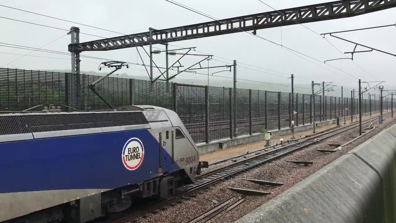 Hd Eurotunnel Le Shuttle Services Arriving At Cheriton Folkestone