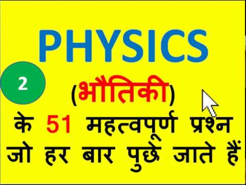 Top 51 PHYSICS MCQ (HINDI)Asked in All Competitive Exams( SSC/PCS/All Govt .. Questions)
