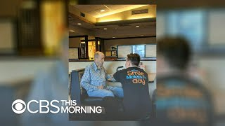 Nearby diner captures heartwarming moment between waiter and 91-year-old veteran