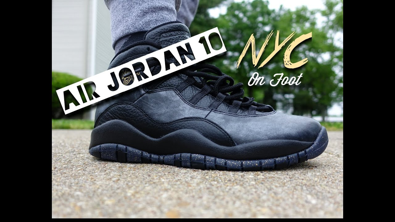 1ee805b7ef540e Air Jordan 10 NYC City Pack On Foot - YouTube