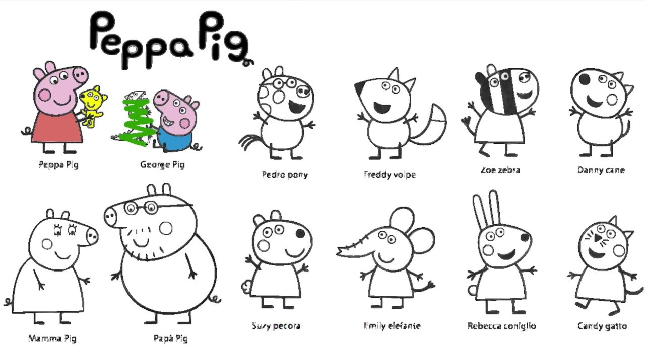 Learn Colours With Peppa Pig And Friends Colouring Page