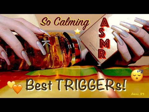 🤩 My fav 💛 🧡 Calming ASMR with different TRIGGERs 🎧 My natural NAILS in Yellow_Holographic theme! ⭐️