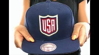 Team USA 'SHIELD SNAPBACK' Navy Hat by Mitchell and Ness