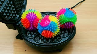 EXPERIMENT WAFFLE IRON vs Rainbow Spike Balls