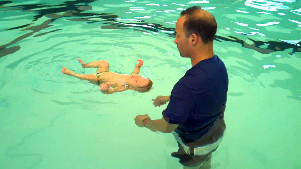 Baby Oliver Floating during ISR swim lesson