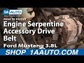 How To Install Replace Engine Serpentine Accessory Drive Belt Ford Mustang 3.8L 1AAuto.com