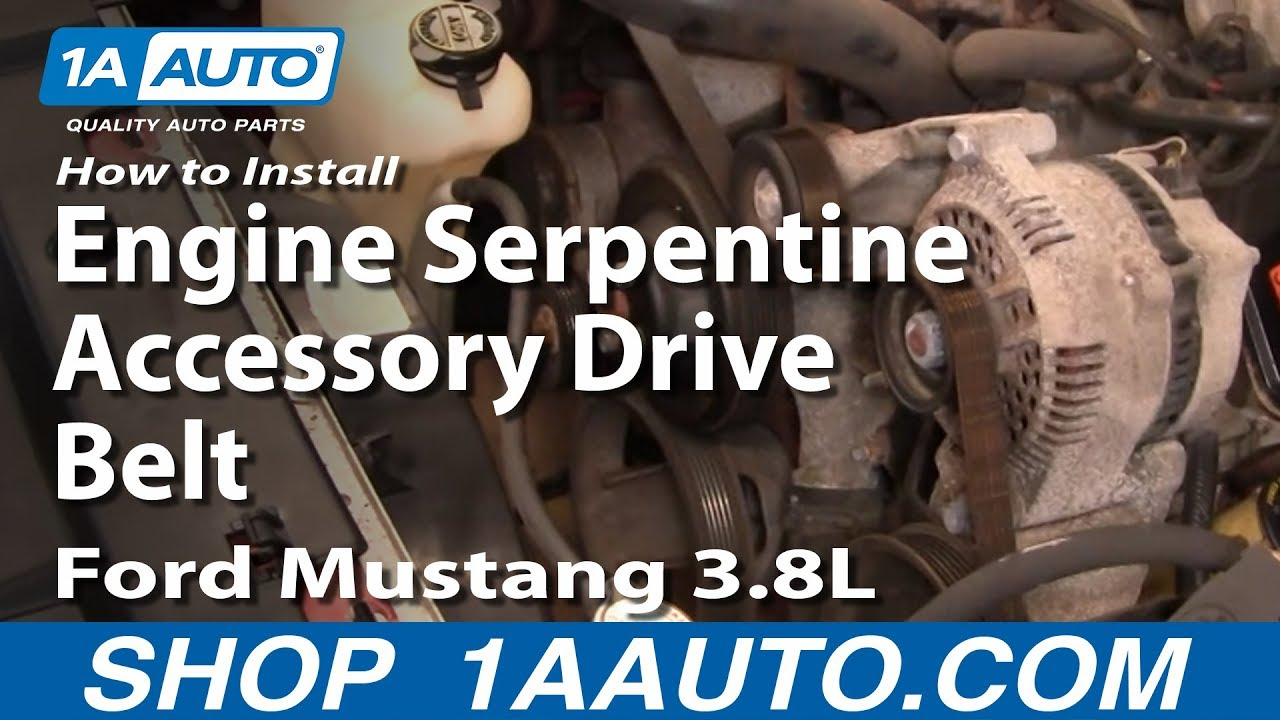 how to install replace engine serpentine accessory drive belt ford mustang 3 8l 1aauto com youtube [ 1920 x 1080 Pixel ]