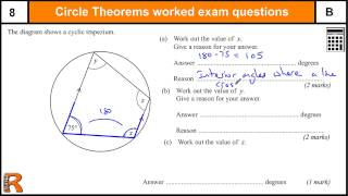 Circle Theorems B/A GCSE Higher Maths Worked Exam paper revision, practice & help