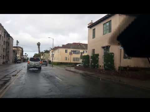 2017 Los Angeles Driving Tour: Heavy Rain Drive from Hancock Park to Sunset Blvd in West Hollywood.